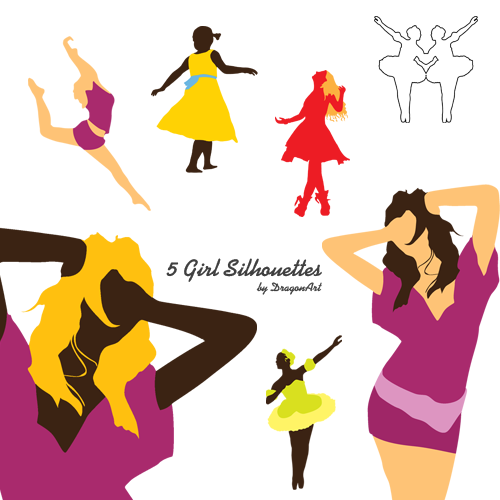 people walking silhouettes. 5 girls silhouette vectors.
