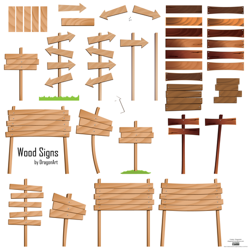 Wood Signs Vector Set DragonArtz Designs We Moved To