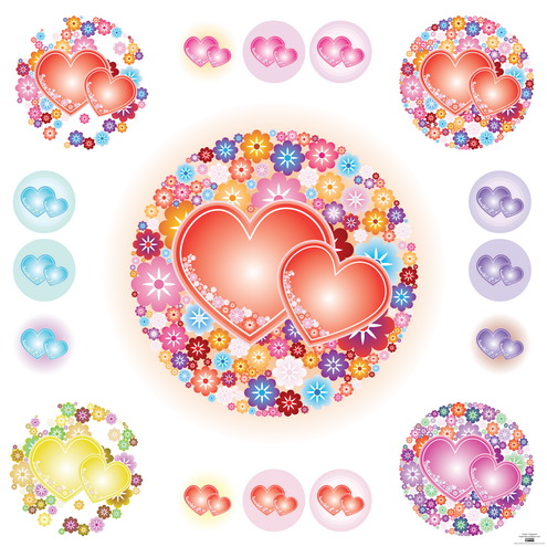 love heart vector. _vector-flowery-hearts-preview