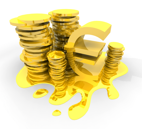 euro sign icon. Golden Euro and Dollar 3D Sign