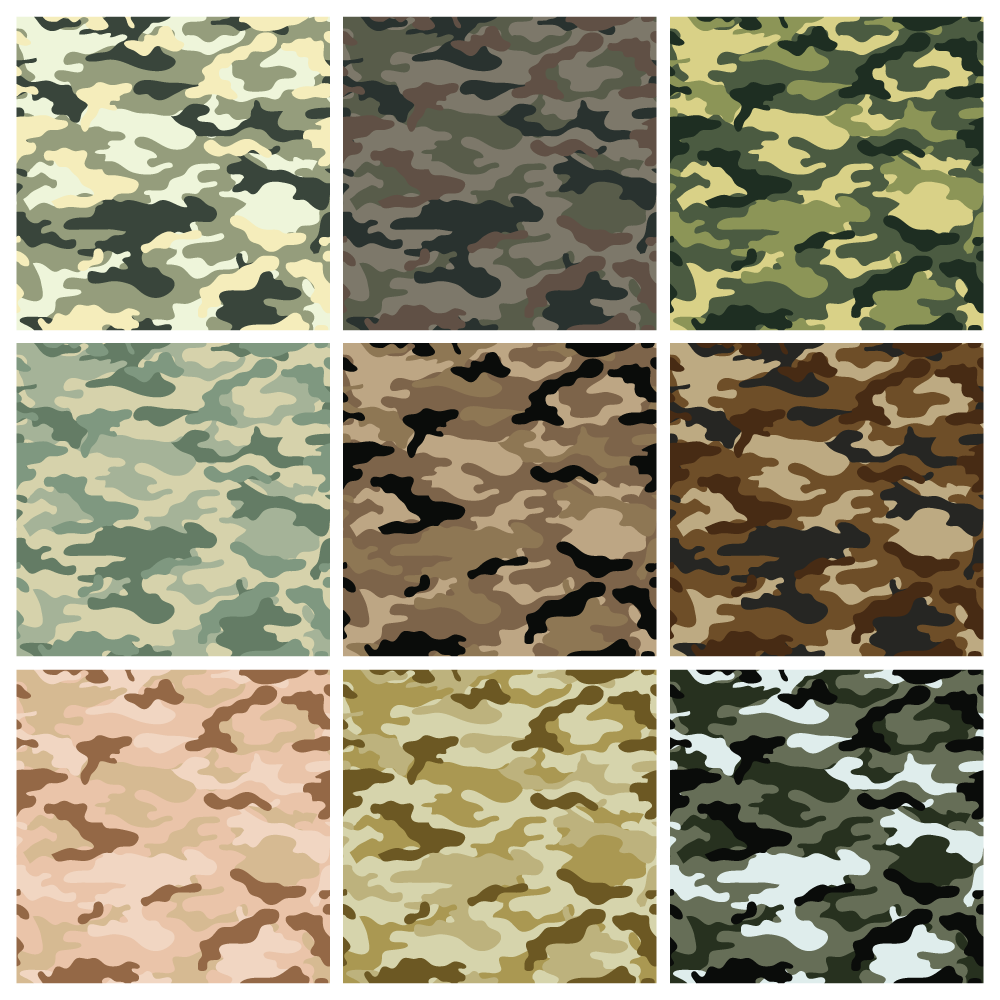Seamless background camouflage in 9 different colors.