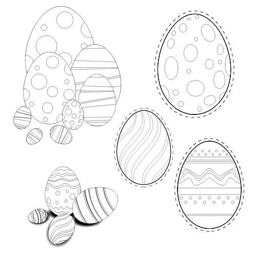 easter eggs pictures to color. Easter Eggs Color-it Vector