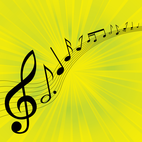images of music notes symbols. Musical melody background in