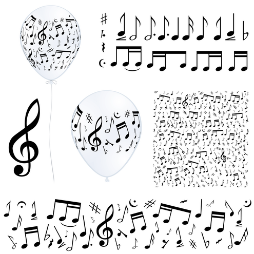 Music notes in different compositions, horizontal composition, single ...