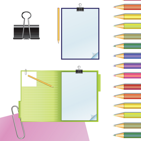 _Vector - Clipboard and pencils Preview by DragonArt