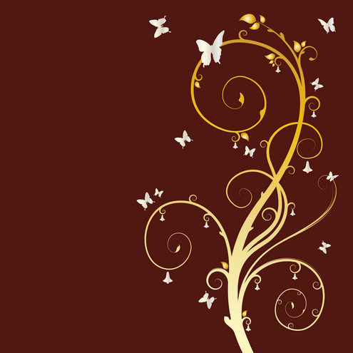 floral wallpaper vector. _Vector - Floral Butterfly