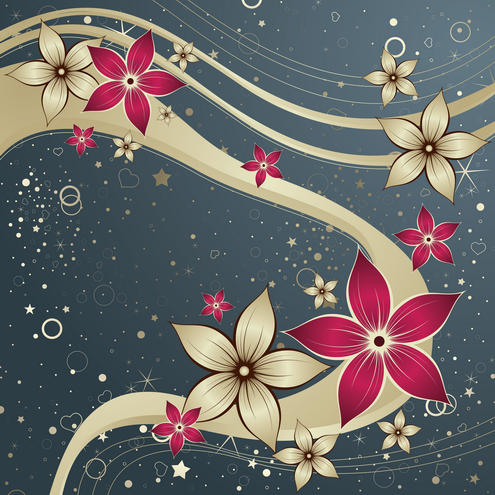 Vector - Red Silk Flower Design 04 by DragonArt