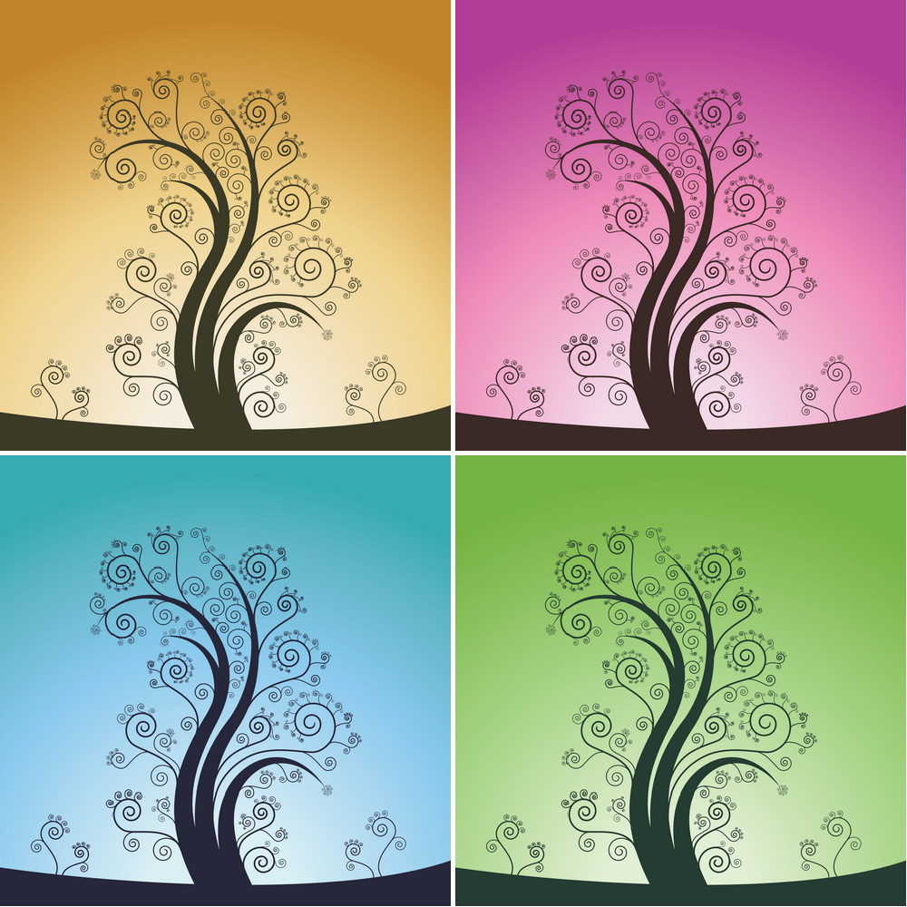 curl tree design vector