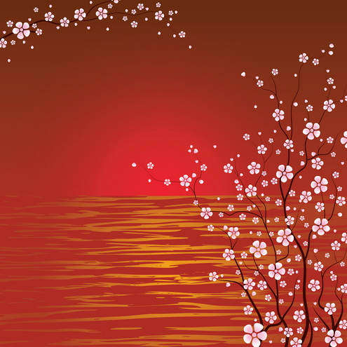 Vector - Japanese Cherry Blossoms 02 by DragonArt