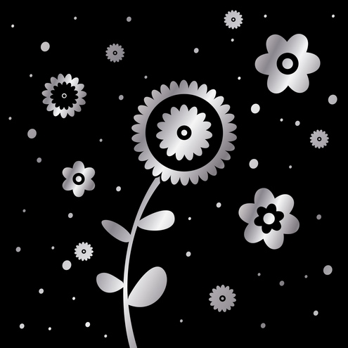 flower clip art black and white. Abstract flowers design in