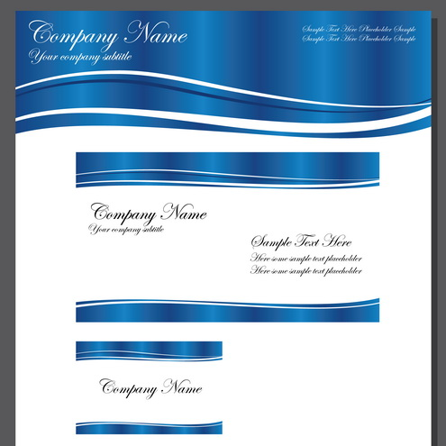 Business Template Blue Wave Vector – Business Invitation Templates